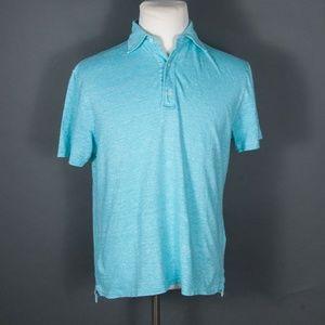 Isaia Turquoise Linen/Cotton Polo Shirt